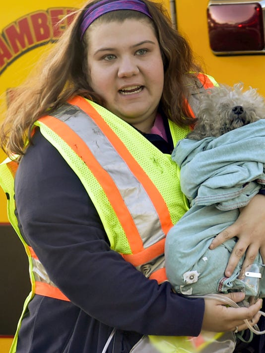 West Shore EMT Molly Carbaugh carries Muzzy, a poodle-bichon mix puppy rescued from a fire, to a waiting ambulance after flames swept though an apartment Thursday at 865 Lincoln Way West, Chambersburg.