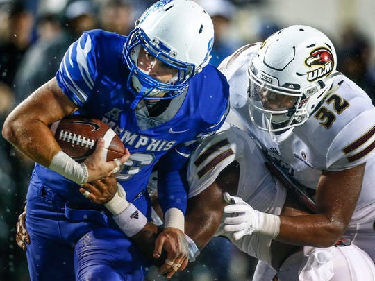 University of Memphis tight end Joey Magnifico (left)
