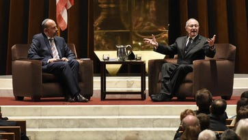 """Temple Beth El's Senior Rabbi Mark Miller, left, moderates a talk with Alan Dershowitz during a community forum, """"Looking Ahead: What Do the Next Four Years Mean for American Jews and our Relationship with Israel?"""" Dershowitz predicts Donald Trump will be unpredictable."""
