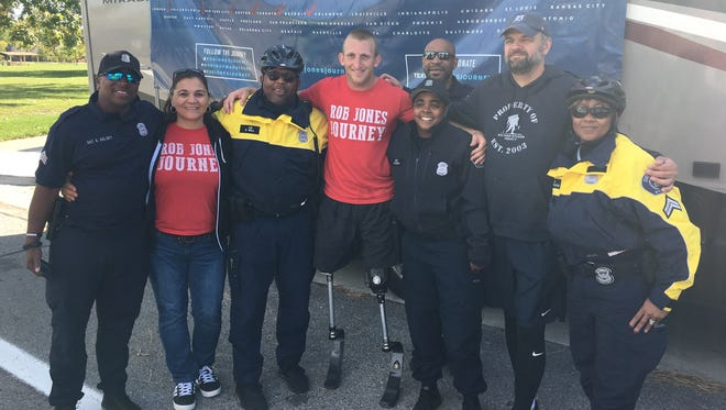 Rob Jones, a double amputee Marine, is running 31 marathons in 31 cities in 31 days. He ran one on Belle Isle in Detroit on Oct. 17.