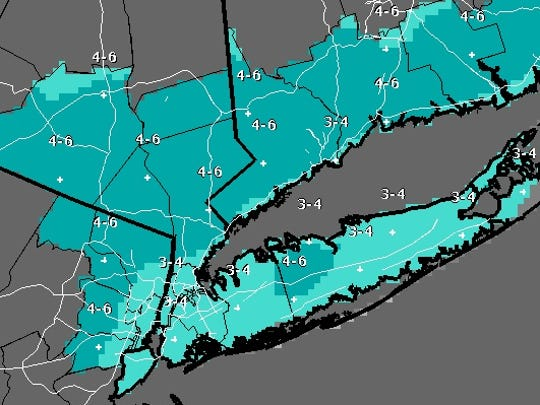 Projected snowfall totals for the Friday storm as shown