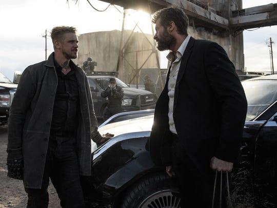 "Pierce (Boyd Holbrook) and Logan (Hugh Jackman) face off in ""Logan."""