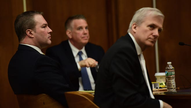 From left, Daniel Rochat, accused in the killing of Barbara Vernieri in 2012, with his attorneys Jim Doyle and Richard Potter, before Superior Court Judge Margaret M. Foti.