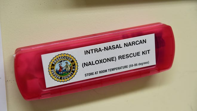 A box of Narcan in the processing area of the Bergen County Prosecutor's Office. Bergen County Prosecutor Gurbir S. Grewal put into motion Operation Helping Hands, which targets drug addicts to get help from medical professionals after their arrests. Police detectives from Bergen County towns were assigned to the Bergen County Prosecutor's Office Narcotics Task Force. Their mission is to observe drug traffic in Paterson, Passaic and Newark, then follow the person buying the drugs back into Bergen County and making a traffic stop and arrest. After the person has been processed they are met with drug recovery specialists and clinicians to encourage them into detox and into a recovery program.