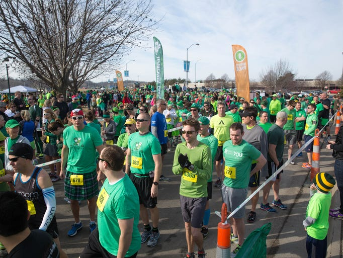 Runners get set for the start Saturday, March 14, 2015,