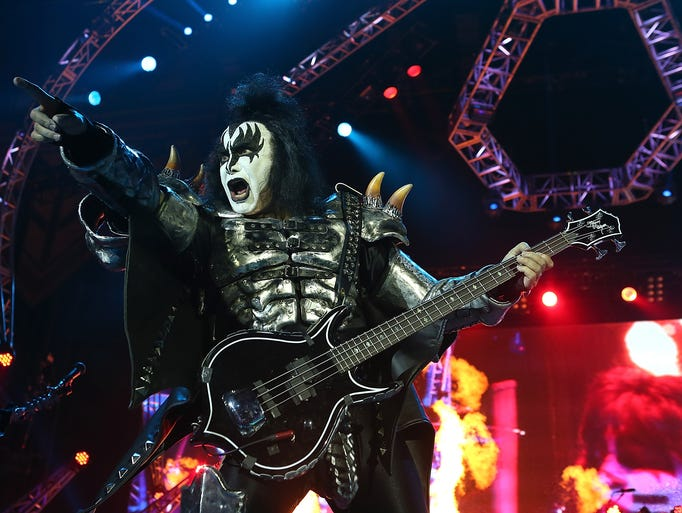 Gene Simmons of KISS, performs during their opening