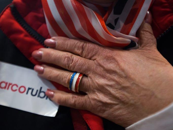 Molly Tedesco sports patriotic colors at Senator Marco