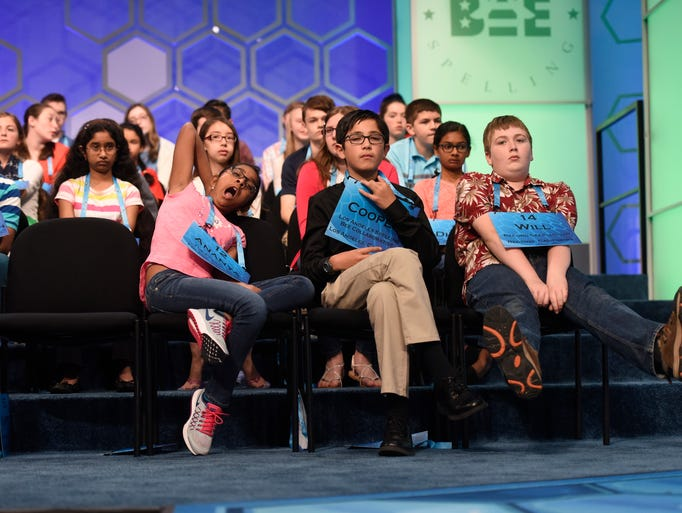 Spellers listen to others compete during the 2016 scripps