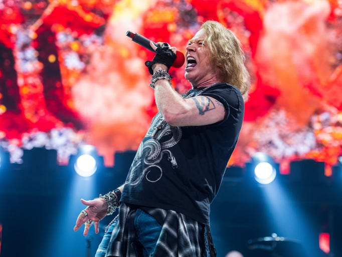 Guns n' Roses front man Axl Rose performs during AC/DC's