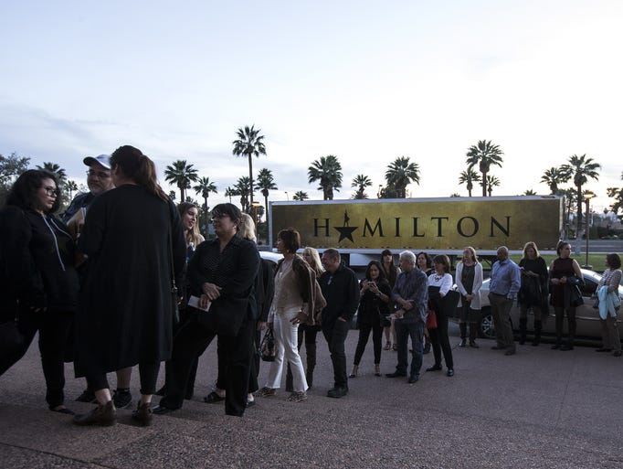 "Fans wait in line at opening night of ""Hamilton"" on"
