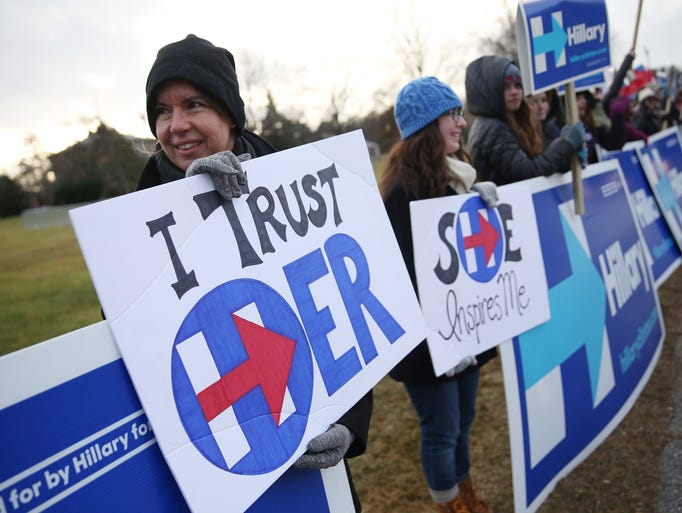 Supporters of Hillary Clinton's bid for the Democratic