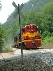 The Hiwassee Rail Adventure train approaches a grade