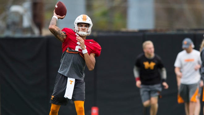 Tennessee quarterback Jarrett Guarantano (2) throws the ball during football practice on Tuesday, Nov. 7, 2017.