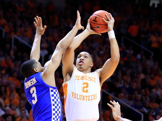 Tennessee's Grant Williams puts up a shot during a game against Kentucky on March 2.