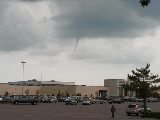 Cold air clouds from the mall parking lot in Sioux Falls