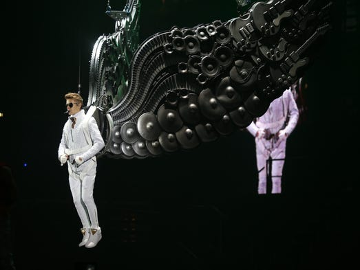 Pop artist Justin Bieber arrives on silver wings Sunday