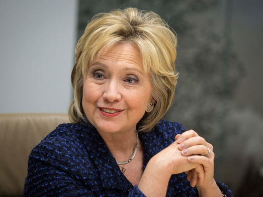 Democratic presidential candidate Hillary Clinton meets