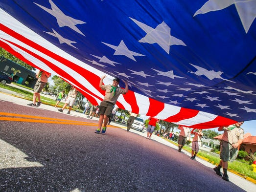 Evan Robbins of Cape Coral and with Troop 4, walked