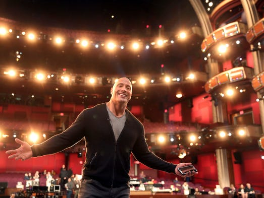 Dwayne Johnson appears during a rehearsal for the 89th