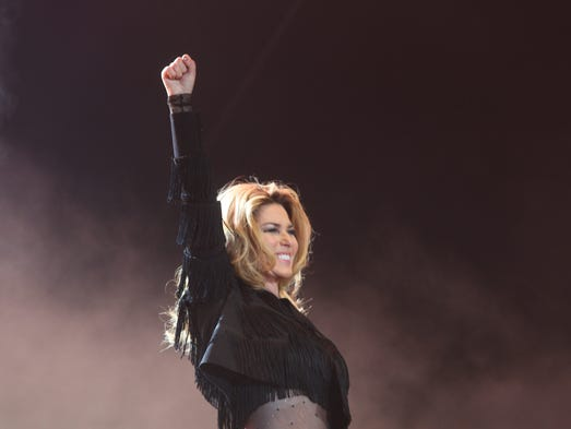 Shania Twain performs on the Mane Stage during the