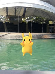 A Pikachu appears at World's Fair Park in the mobile