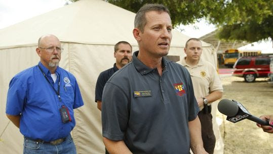 Incident Commander Alan Sinclair talks about the Tenderfoot Fire at the command center Saturday, June 11, 2016, in Yarnell. The mandatory evacuation of structures on the east side of Yarnell was lifted at 6 p.m. Saturday, June 11.