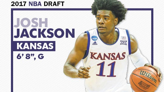 """Josh Jackson, a 6'8"""" small forward from Kansas is expected to be among the top picks in the NBA draft."""