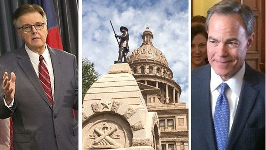 Lt. Gov. Dan Patrick, left, and House Speaker Joe Straus have remained separated on several issues as the 2017 legislative session.