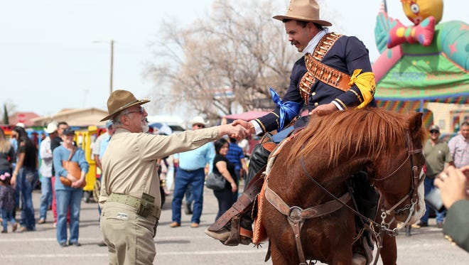 "5. ""Pancho Villa"" greets guests as a symbol of friendship during the 17th annual Cabalgata festival Saturday in Columbus. The event brings in horseback riders from Mexico to celebrate in the small border town."
