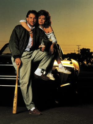 """Kevin Costner and Susan Sarandon in """"Bull Durham,"""" the quintessential Southern sports movie."""