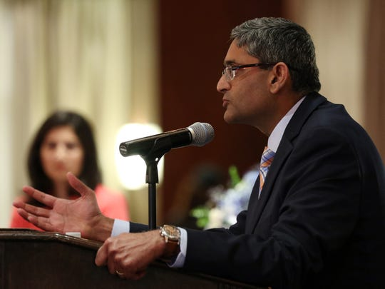 Jag Sunderram, MD, medical director of the RWJ Comprehensive Sleep Center speaks at Healthfest 2016 featuring Arianna Huffington, Tuesday, June 28, 2016, at the Imperia in Somerset.