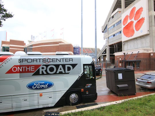 The ESPN's CollegeDay crew comes to Clemson for Saturday's game against Louisville. .