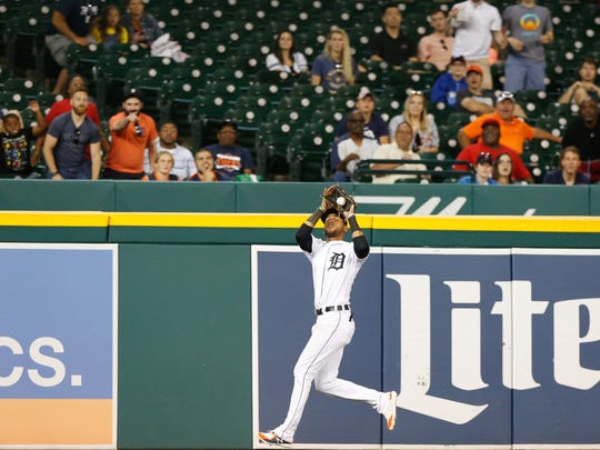 Tigers left fielder Victor Reyes catches a flyout from