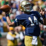 Notre Dame quarterback Kizer DeShone makes a throw during the Blue-Gold spring NCAA college football game, Saturday, April 16, 2016, at Notre Dame Stadium in South Bend.