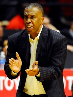Texas Southern coach Mike Davis yells from the bench during the second half of a game last season.