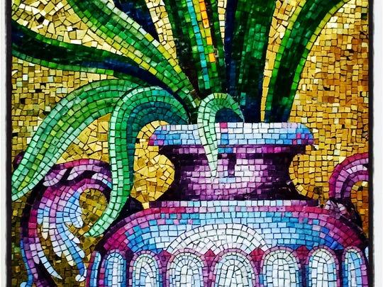 Detail of mosaic tile art at the entrance of Detroit Transfiguration Catholic Church.