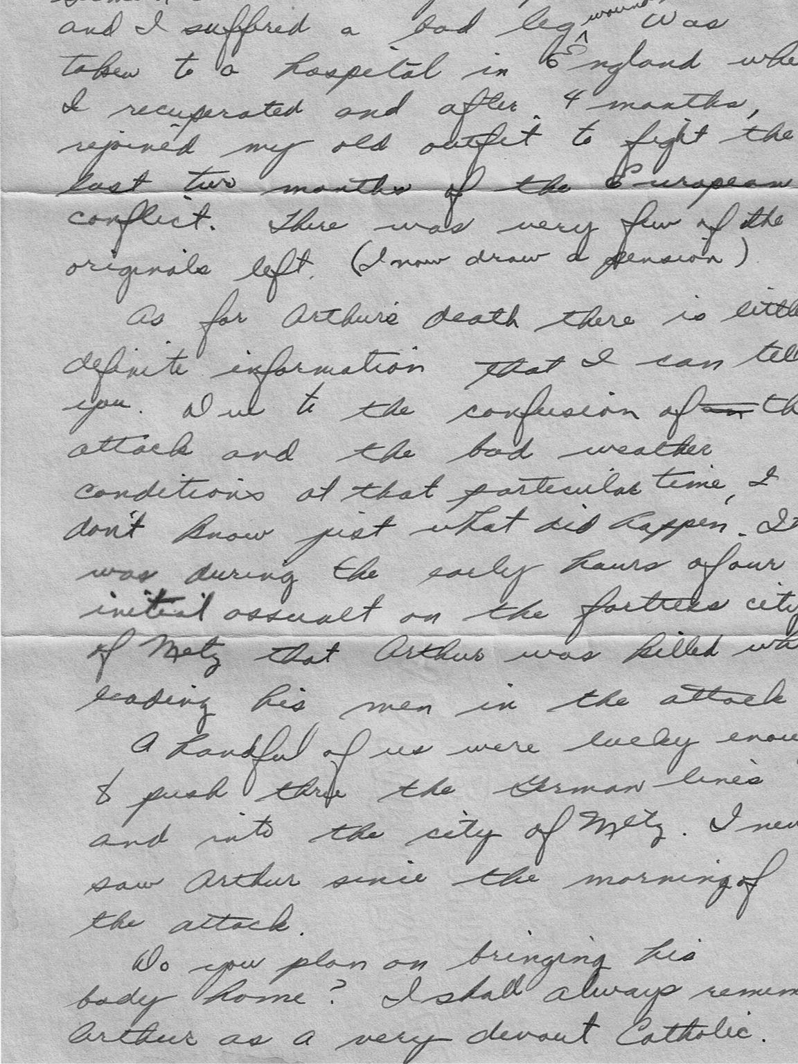 The portion of the letter from a fellow soldier to