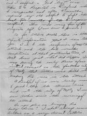 The portion of the letter from a fellow soldier to Arthur Merkley's parents describing their son's death.