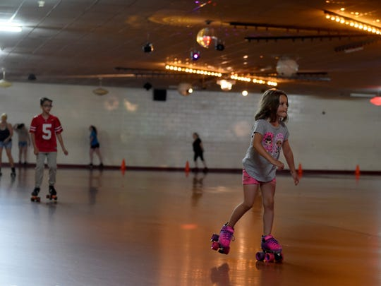 Zoey Landram, 5, skates at the Roll-A-Way Skating Center