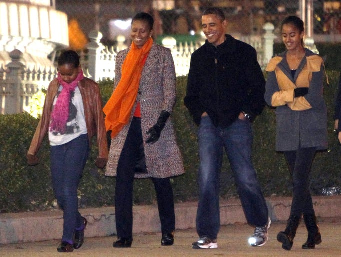 The First Family from left, Sasha Obama, First Lady