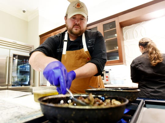 Society of the Golden Fork first dinner featuring Chef Blake Jackson Monday evening at Kitchen and Bath Cottage.