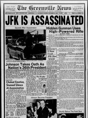 The front page of The Greenville News on Nov. 23, 1963.