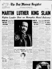 Front page of the Des Moines Register after Martin Luther King Jr. was assassinated.