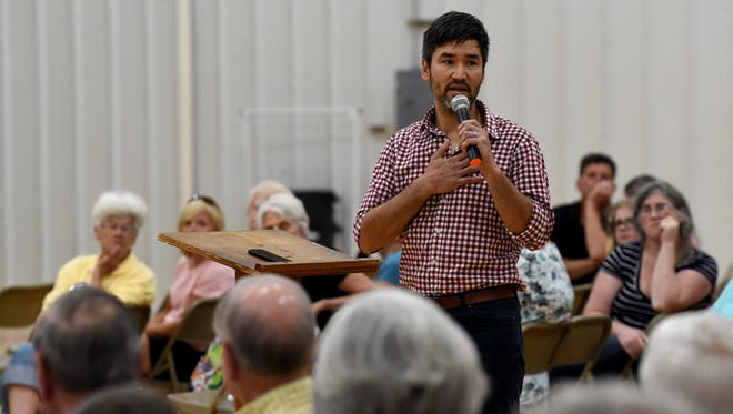 Community members take part in the second of two listening sessions on topics of diversity and inclusivity in Staunton City Schools on Tuesday, July 10, 2018 at the Gypsy Hill Park gym. Most speakers specifically address proposals to change the name of Robert E. Lee High School.