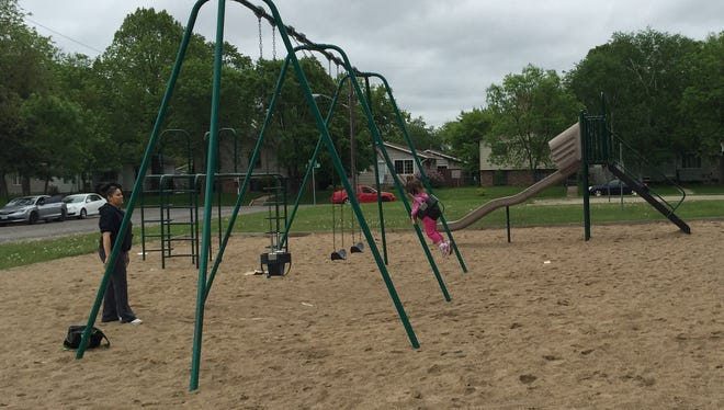 The playground equipment at Central Park in St. Cloud.