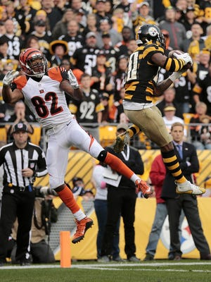 Pittsburgh Steelers cornerback Antwon Blake intercepts a pass intended for Marvin Jones in the end zone during the Bengals' 16-10 victory over the Steelers on Nov. 1.