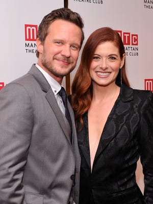 """Actors Will Chase an Debra Messing attend the """"Outside Mullinger"""" Broadway opening night after party at Copacabana on January 23, 2014 in New York City."""