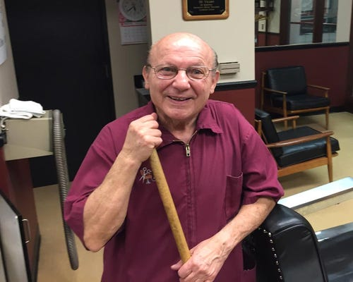 Sam Zeolla has been cutting hair since 1954 inside downtown Detroit.