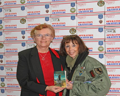 Lindsay McKenna and Carolyn Blashek, who created Operation Gratitude. (Photo: Eileen Nauman)