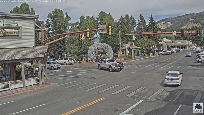 A webcam showing an intersection in Jackson, Wyo. is exciting the internet.